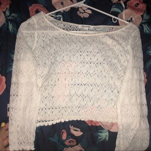 white lace aeropostale crop top